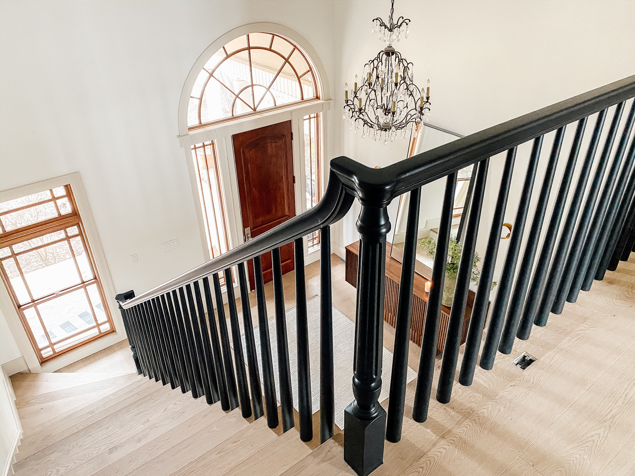 How We Completely Updated Our Stair Railings By Only Swapping Out   Installing Wood Balusters On An Angle   Stair Parts   Stair Spindles   Banister   Knee Wall   Handrails