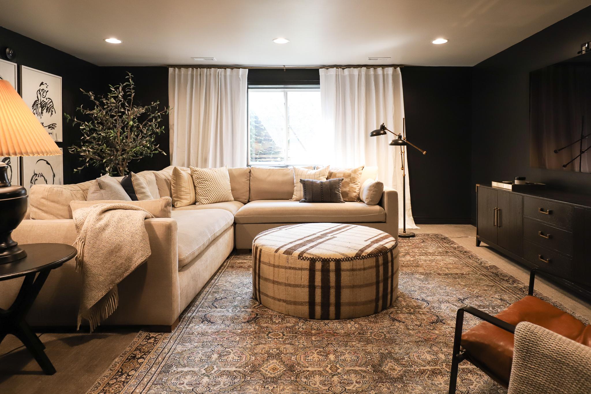 dramatic basement family room makeover