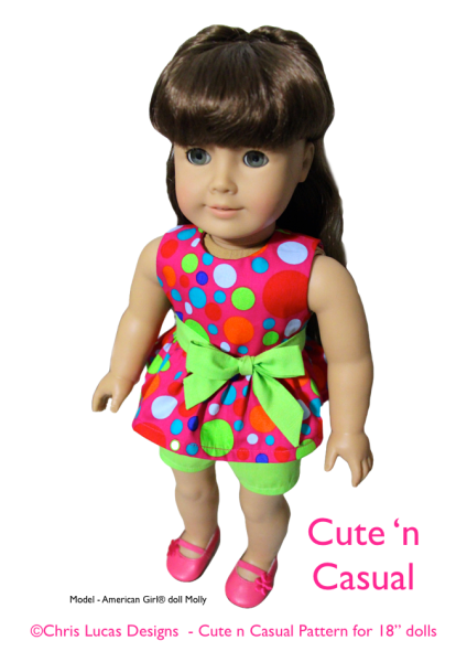 Chris Lucas Designs - Cute n Casual - AG Size Sewing Pattern - American Girl doll Molly