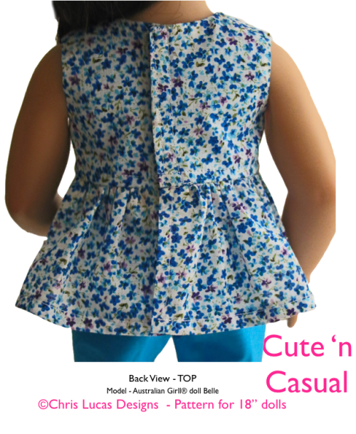 Chris Lucas Designs - Cute n Casual - AG Size Sewing Pattern - TOP Back View