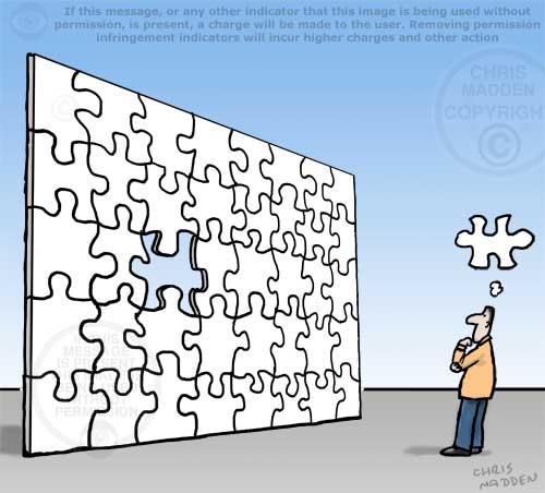 jigsaw thought balloon cartoon