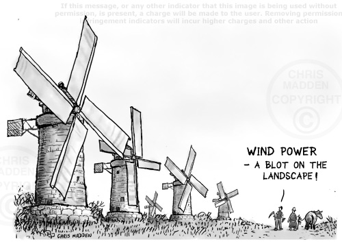 windmill/wind turbine blot on landscape illustration