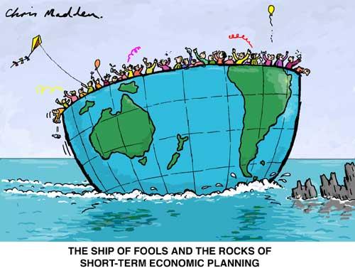 Environment cartoon - ship of fools