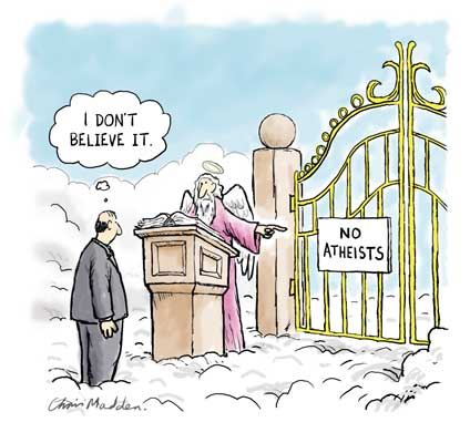 atheist at gates of heaven cartoon