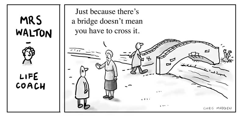 Crossing bridges cartoon