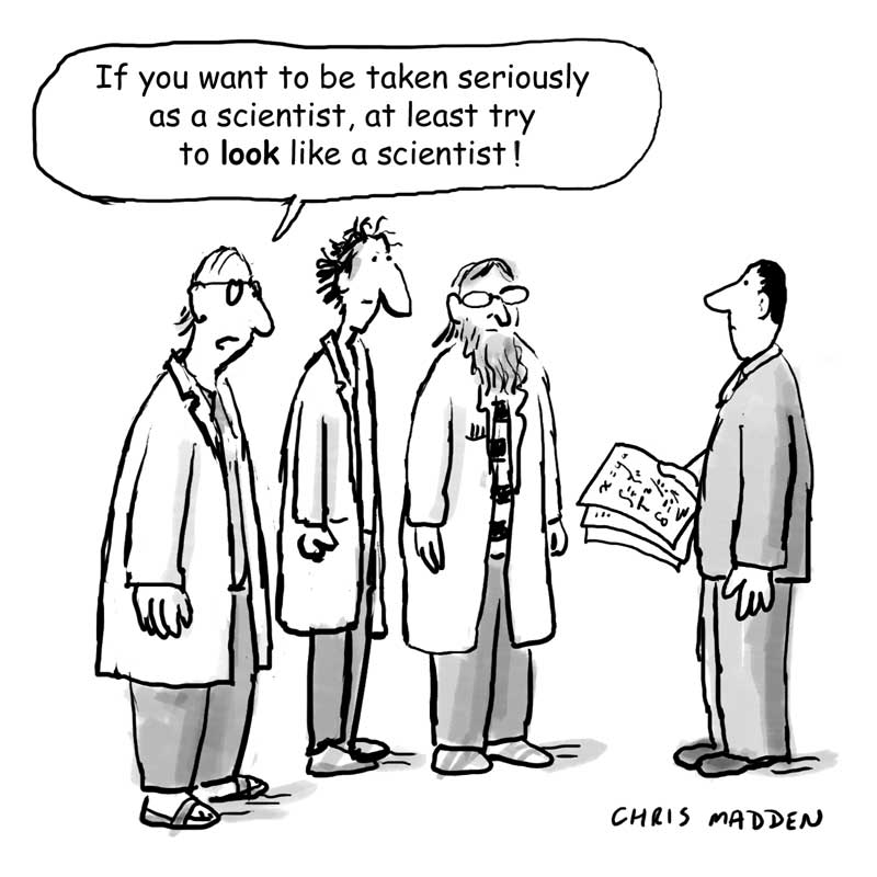 cartoon showing stereotypes of scientists