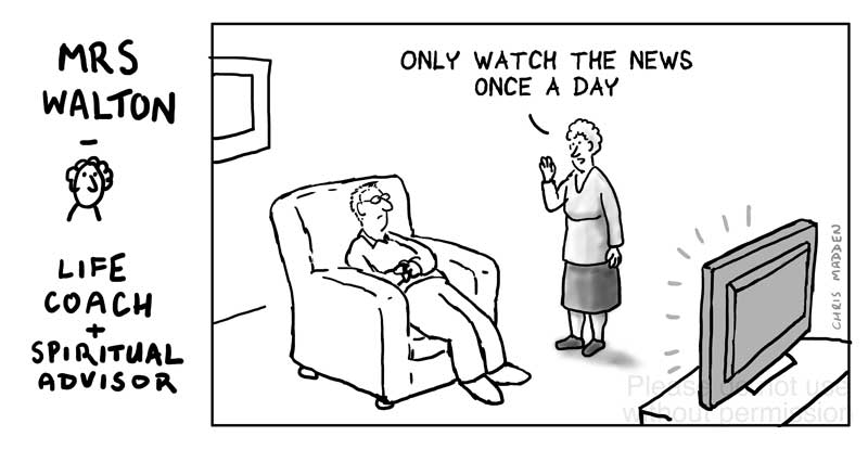 Only watch the news once a day cartoon