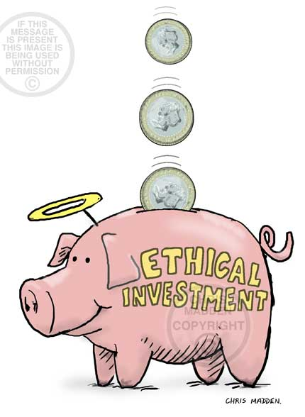 Illustration: Ethical investment - cartoon piggy bank with halo
