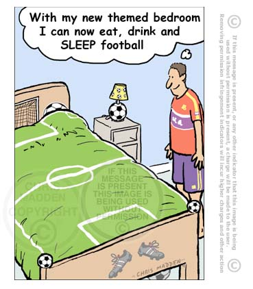 Football themed bedroom cartoon