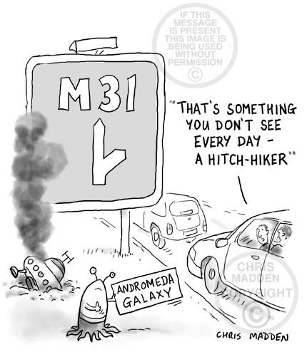 hitch hiking cartoon - alien heading for M31