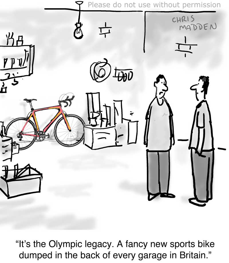 olympic legacy - racing bike in garage cartoon