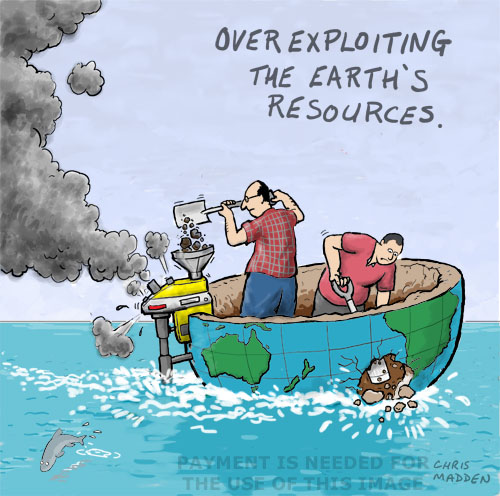 depleting the earth's resources cartoon