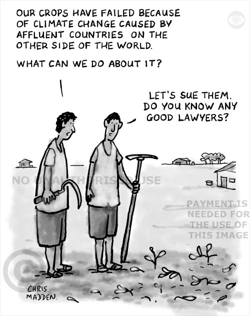 Developed world's effect on the developing world - cartoon