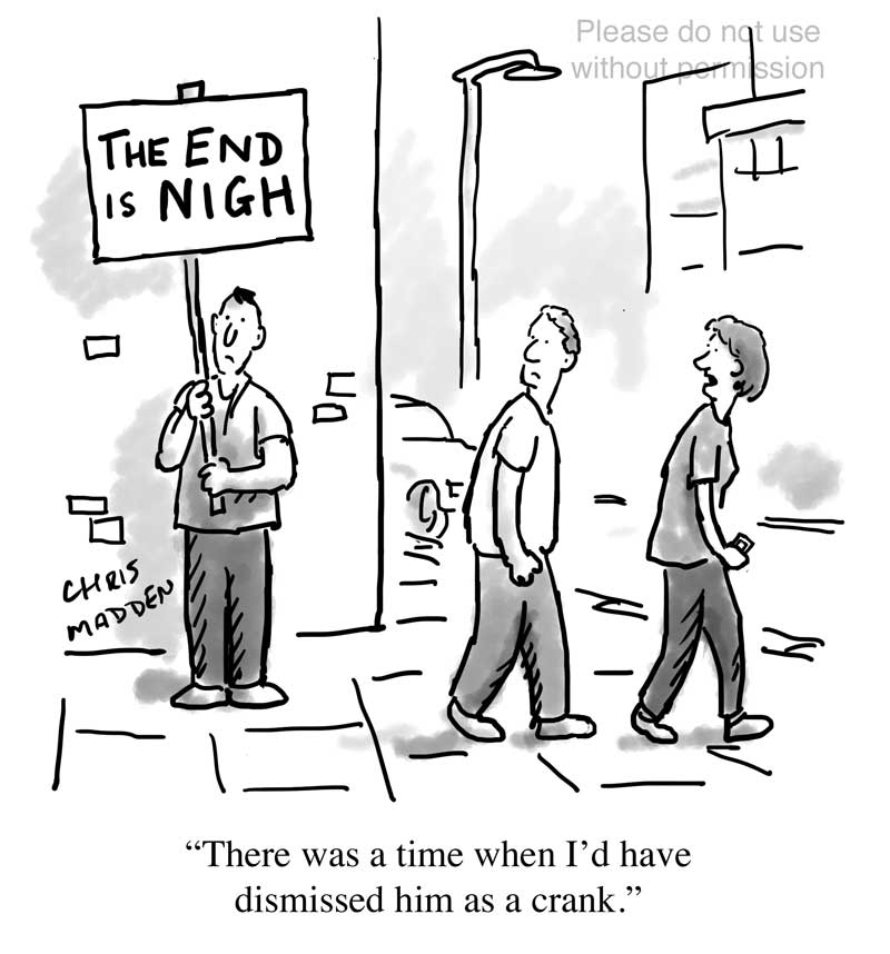 Climate change cartoon - the end is nigh