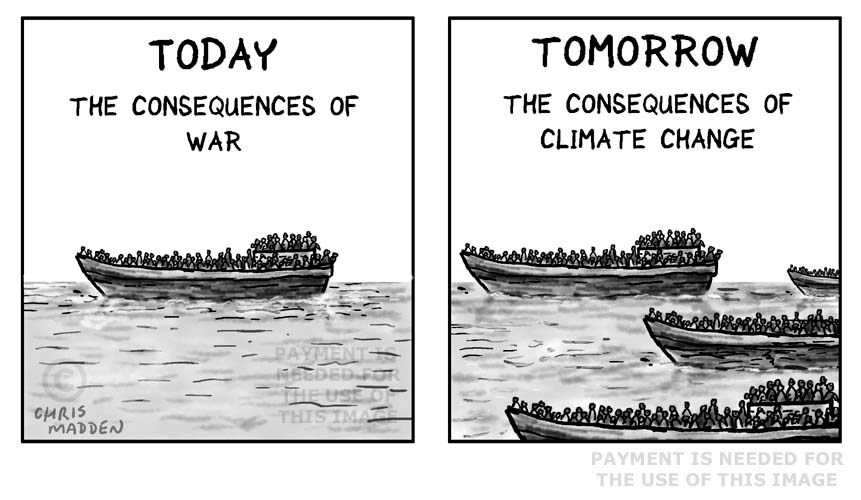 Cartoon - climate change refugees