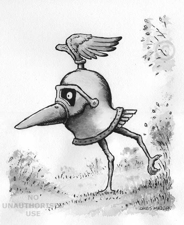 armour helmet bird drawing