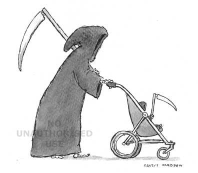 grim reaper and baby grim reaper in pushchair