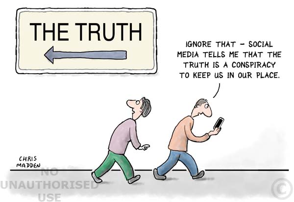 Cartoon about ignoring the truth in favour of prejudice