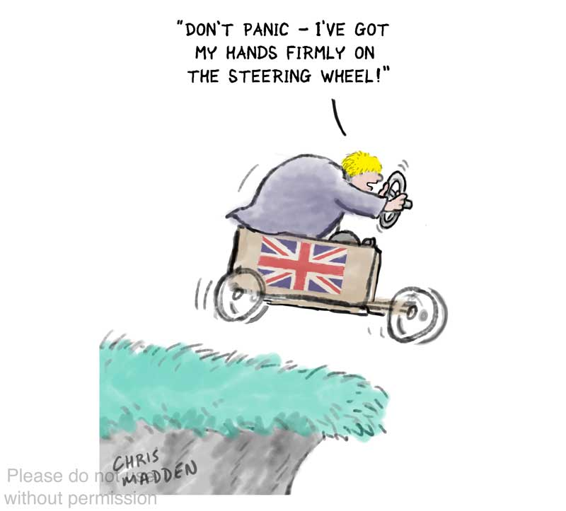 Boris Johnson control government cliff edge cartoon