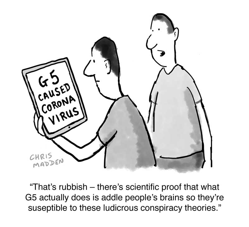 coronavirus g5 conspiracy theory cartoon