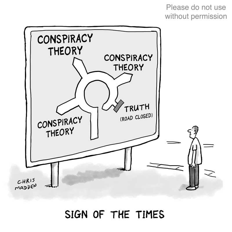 Conspiracy theory cartoon - road sign