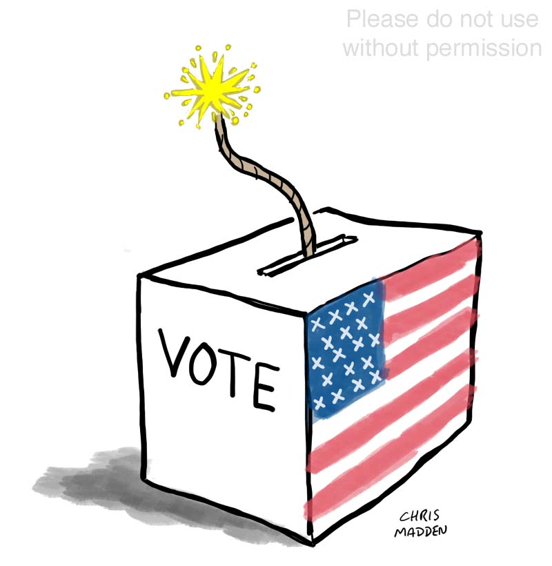 US Trump Biden election ballot box cartoon