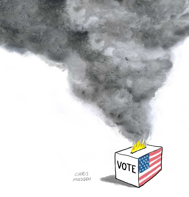 US Trump Biden election 2020 ballot box fire cartoon