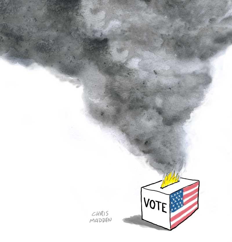 US Trump Biden election 2020 ballot box fire cartoon