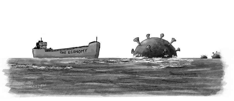 covid economy cartoon ship mine