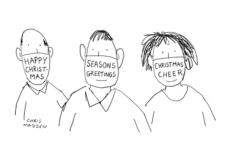 Christmas cartoon covid-19 mask