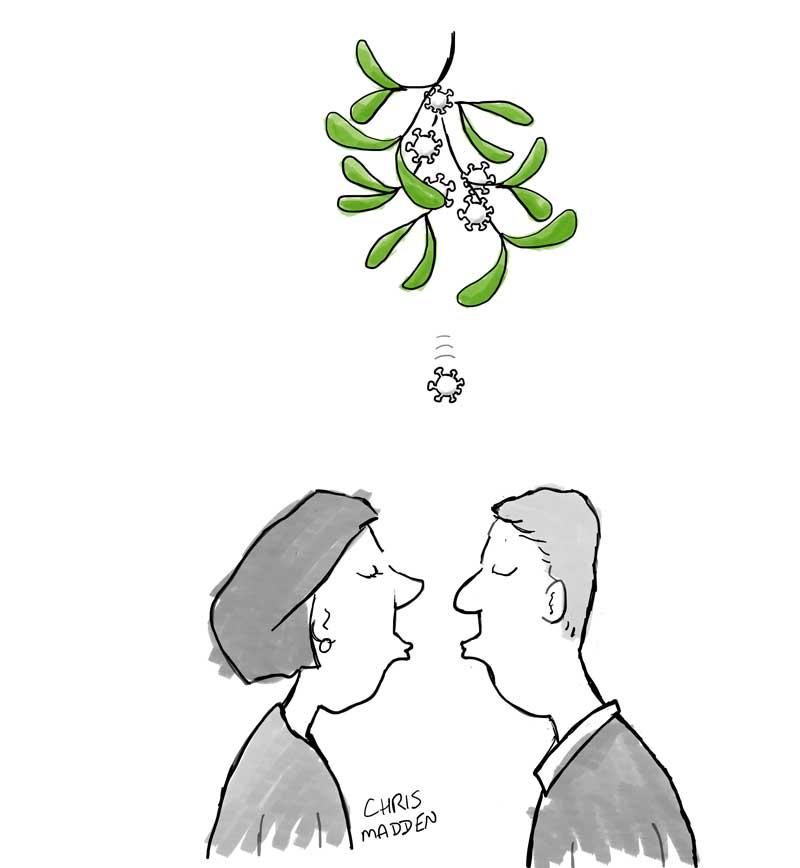 Christmas cartoon covid-19 virus mistletoe