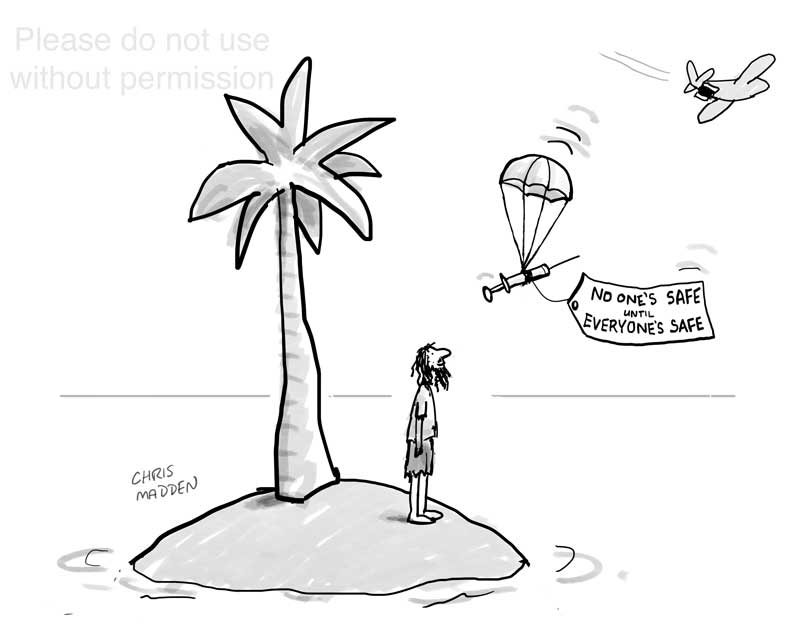 covid-19 vaccine cartoon desert island