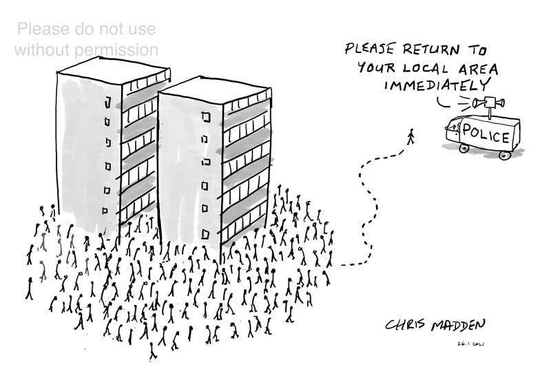 covid-19 lockdown enforcement cartoon