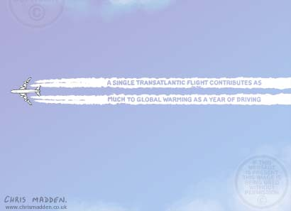 Air travel environmental impact cartoon