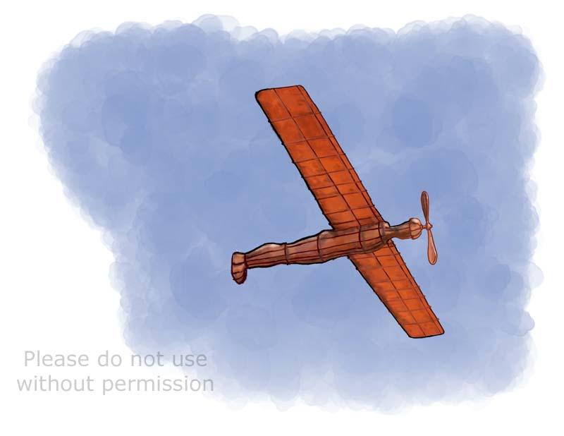 Antony Gormley Angel of the North flying cartoon