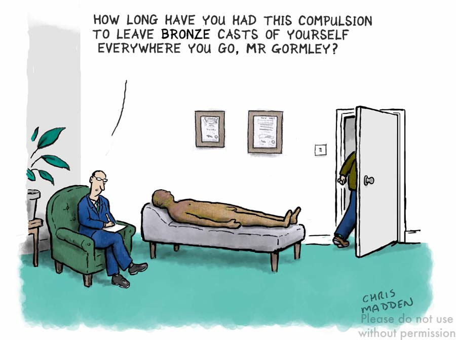 Antony Gormley cartoon narcissist