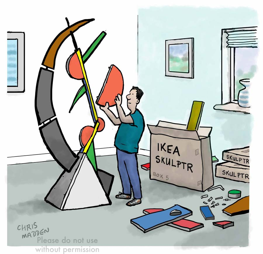 modern sculpture cartoon