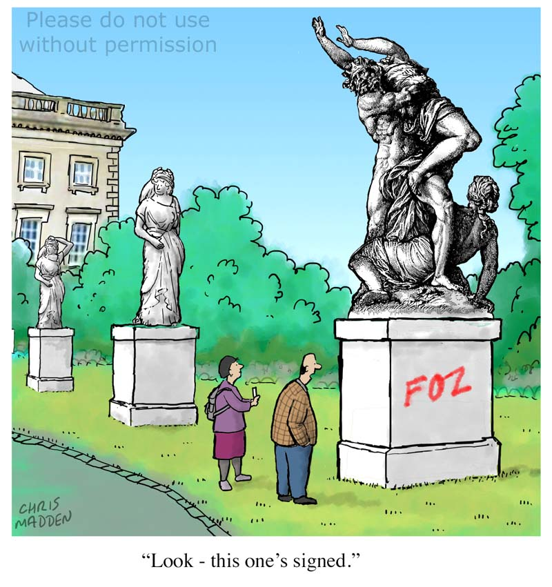 Graffiti on a statue cartoon