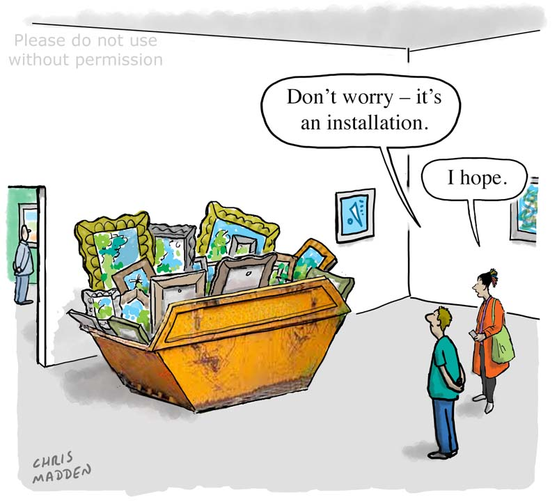 Contemporary art cartoon – a builders' skip full of traditional paintings