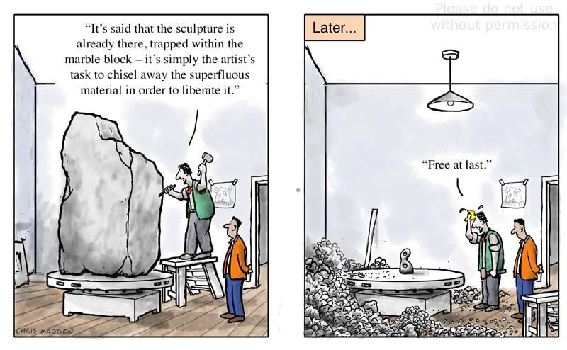Sculpture already in the stone cartoon
