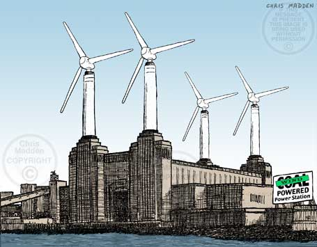 Alternative energy supply cartoon. Battersea coal fired power station converted to wind power