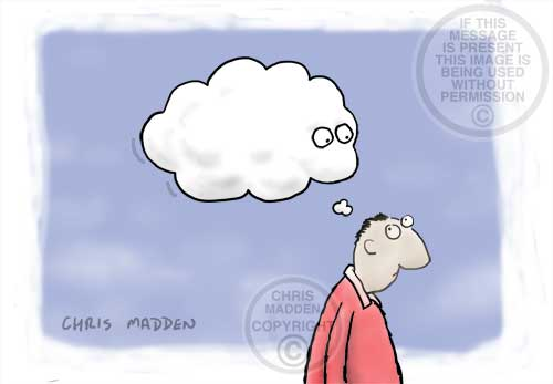 Cartoon about consciousness - eyes in thought bubble