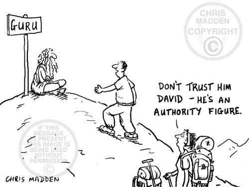 Cartoon about gurus as authority figures
