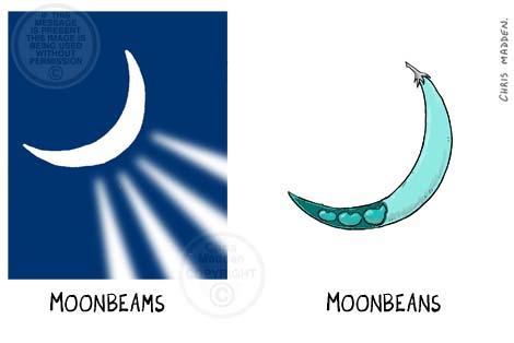 Moon cartoon. Moonbeams and moon beans