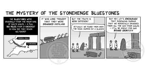 Stonehenge cartoon How the bluestones got to Stonehenge - glacial erratics