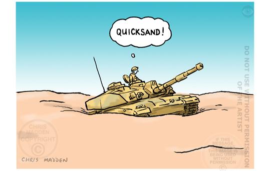 western intervention in desert cartoon madden