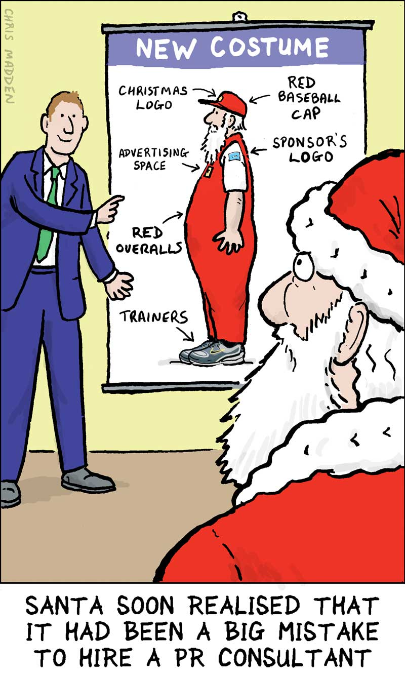 Christmas cartoon. Santa employs a public relations man who suggests that he modernises his clothes