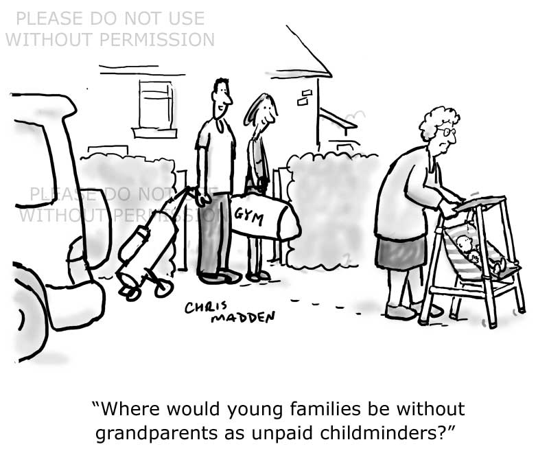 Grandparents childminding cartoon. Zimmer frame with pushchair seat attached