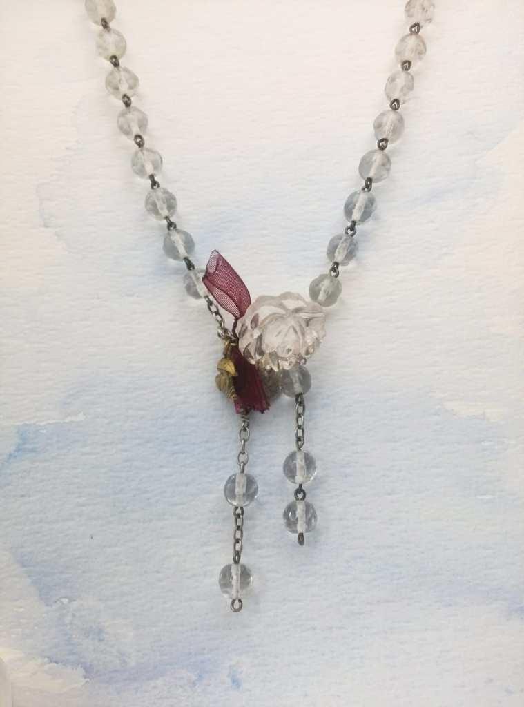collier-perles-cristal-ancien-chapelet-avec-bracelet-et-breloque-rose-(10)