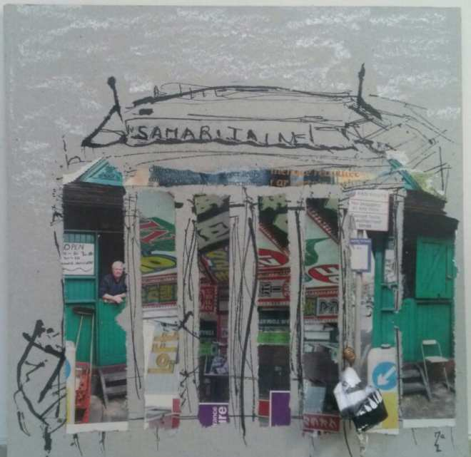 Chrismali - la Samaritaine Collage, encre et petit personnage papier et fil cde fer -18*18